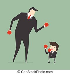 Business concept - Businessman boxing against a giant...