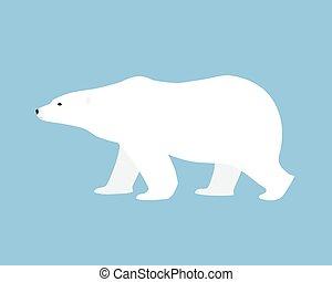 Polar bear hand drawn illustration, flat style