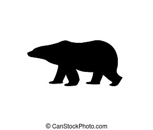 Silhouette of a polar bear, side view