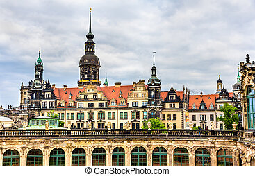 View of Dresden castle from Zwinger Palace - Germany, Saxony