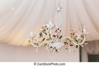 Chrystal white chandelier close-up. - Chrystal white...