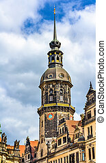 Hausmannsturm tower at Dresden castle in Germany, Saxony