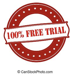 One hundred percent free trial - Rubber stamp with text one...