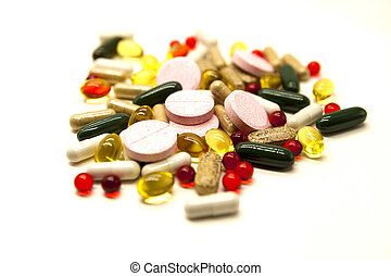 Different pills, medications, the pills closeup on white...