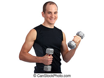 Dumbell workout - Young, caucasian man working out with...