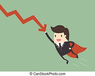 Business concept - Super businessman stop the falling down...