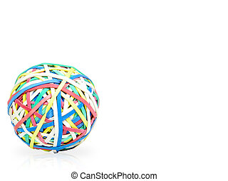 Rubberbands Ball - Colorful rubberbands ball over white...
