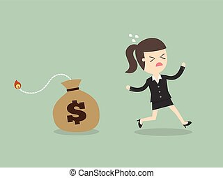 Inflation Concept - Business Woman Running Away From Money...
