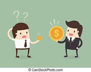 Salary variation Flat design business concept cartoon...