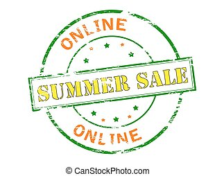Summer sale - Rubber stamp with text Summer sale inside,...