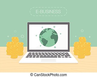 E-Business. Flat design illustration. Make money from...