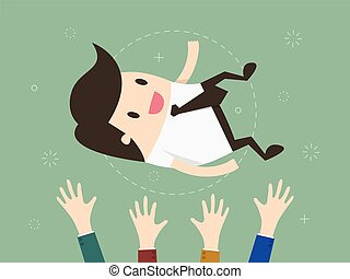 Success businessman being thrown in the air Flat design...