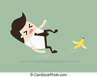 slip - Businessman slipping on a banana peel. Business...