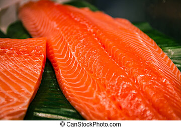 Sliced salmon laid on a green surface
