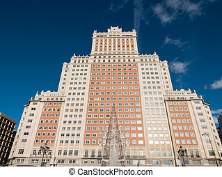 Plaza España Building in Madrid - Front view of Spanish...