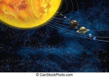 Solar system space - Solar system with sun and planets on...