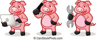 Deep Pink Pig Mascot with phone, laptop and tools