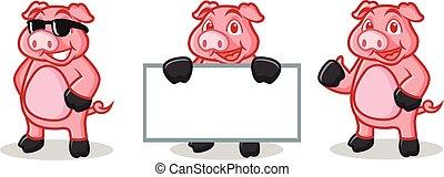Deep Pink Pig Mascot happy, pose and bring board