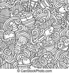 Cartoon hand-drawn ice cream doodles seamless pattern. Line...