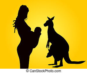 Silhouettes of the woman of mother and a kangaroo on an...