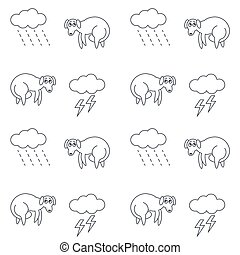 Homeless dogs outside in bad weather seamless pattern. -...