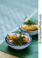 Canape with Fried Spring rolls set for wedding ceremony