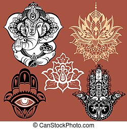 Ornamental elephant and mandalas - Big set with element of...