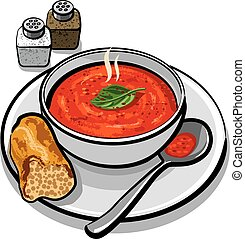 hot tomato soup in bowl