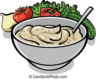 sauce tartar - traditional sauce tartar in bowl, cream sauce...