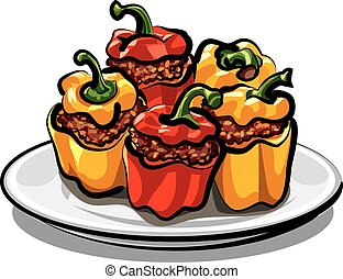 stuffed bell peppers - red and yellow stuffed bell peppers...
