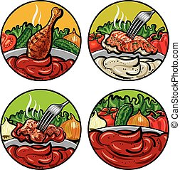 set of tomato sauces - set of vector illustrations of tomato...