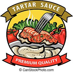 sauce tartar label design, cream sauce with spices,...