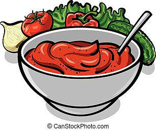 tomato sauce with vegetables, onion, cucumber, lettuce and...