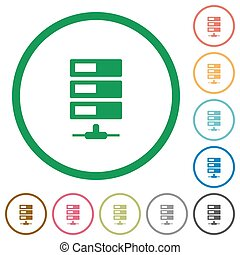 Data network outlined flat icons - Set of data network color...