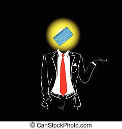 Man Silhouette Suit Red Tie Credit Card Head Banking Concept
