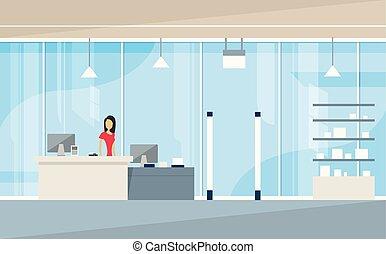 Shop Interior Sales Woman Stand Near Cash Desk  Illustration