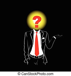 Man Silhouette Suit Red Tie Question Mark Sign Head Black...