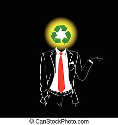 Man Silhouette Suit Red Tie Recycle Green Symbol Head Concept
