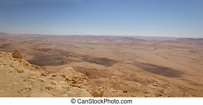 Panoramic view of Makhtesh Ramon.