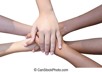 business peoples hands on top - Closeup of multiethnic...