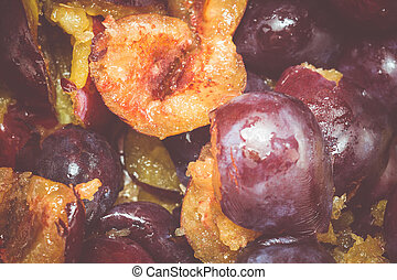 Cutted Plums Macro - Fresh ripe cutted plums macro as a...