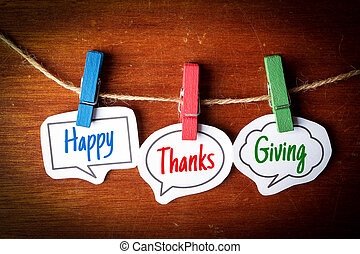 Happy Thanks Giving - Paper speech bubbles with text Happy...
