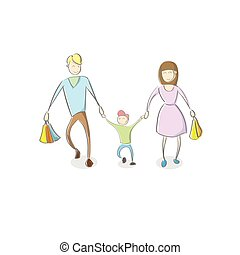 Family Parent With Son Holding Shopping