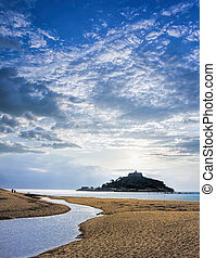 St Michaels Mount against sunset near Penzance in Cornwall