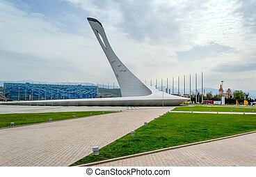 Sochi, Russia, April, 10, 2016: Ice palace and Olimpic flame...
