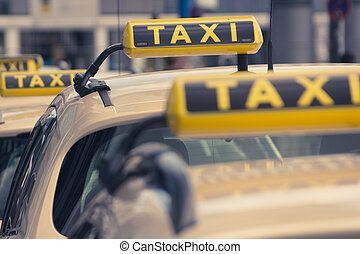 taxi signs, taxi cars waiting in queue