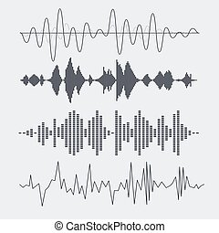 Vector sound waves set. Music. Vector illustration.