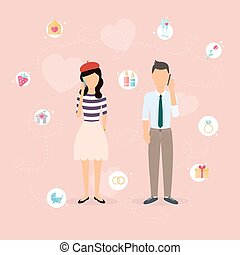 Couple talking on a cell phone. Cartoon man and woman in love. Set of love, romantic and family icons.Romantic communication of people in love. Flat vector design.