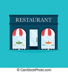 Vector illustration of restaurant building. Facade icons. Ideal for restaurant business web publications and graphic design.