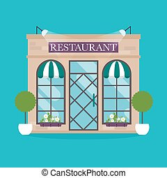Vector illustration of restaurant building. Facade icons. Ideal for restaurant business web publications and graphic design. Flat style vector illustration.